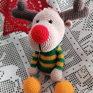 Horgolt karácsonyi rénszarvas - játék & gyerek - plüssállat & játékfigura - más figura - Meska.hu