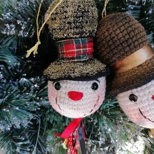 Horgolt hóember figura karácsonyfa dísz - karácsony - Meska.hu