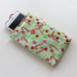 Karácsonyváró cukor mintás, mobiltok - Artiroka design, Telefontok, Pénztárca & Más tok, Táska & Tok, Varrás, Fotó, grafika, rajz, illusztráció, Prémium minőségű, pamut textil felhasználásával készült ez a vidám, cukorpálcás mobiltok. Bélése hoz..., Meska