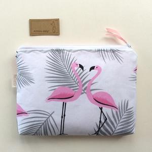 Tavaszi flamingó mintás neszesszer, irattartó  , Táska, Divat & Szépség, NoWaste, Táska, Pénztárca, tok, tárca, Neszesszer, Szemüvegtartó, Textilek, Textil tároló, Pasztell, rózsaszín flamingós neszesszert készítettem, prémium minőségű pamut textilből. Bélése hozz..., Meska