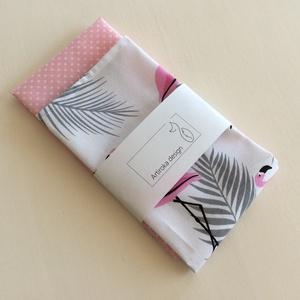 Flamingó mintás, pamut textil zsebkendő vagy szalvéta szett - akár egyedi monogram hímzéssel, Otthon & lakás, NoWaste, Textilek, Konyhafelszerelés, Varrás, Fotó, grafika, rajz, illusztráció, Flamingó mintás és pöttyös pamut textilből készültek ezek a zsebkendő vagy szalvéta szettek.  40 fok..., Meska