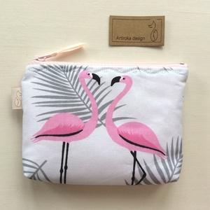 Flamingó mintás irattartó pénztárca - Artiroka design, Táska, Táska, Divat & Szépség, Pénztárca, tok, tárca, NoWaste, Varrás, Pamut textilből készült ez a flamingó mintás irattartó pénztárca.  A cipzárt különleges varrással rö..., Meska