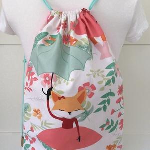 Esernyős türkiz róka mintás hátizsák, tornazsák - edzéshez, úszáshoz vagy a mindennapokhoz - Artiroka design (Mesedoboz) - Meska.hu