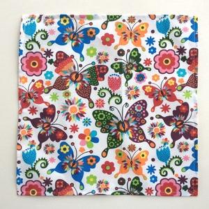 Cseresznye és színes pillangó mintás zsebkendő vagy szalvéta szett - Artiroka design (Mesedoboz) - Meska.hu