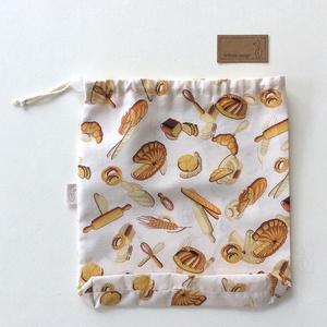 NOWASTE kenyeres bevásárló zacskó - ÖKO zsák - Környezetbarát - Artiroka design, NoWaste, Textilek, Bevásárló zsákok, zacskók , Textil tároló, Kulinária (élelmiszer), Varrás, Pamut textilből készült ez a stílusos pékárú mintás ÖKO zsák. 3 féle méretben készül, húzózárral a t..., Meska