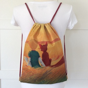 A kis herceg és a róka- mintás egyedi gymbag hátizsák - tornazsák edzéshez, úszáshoz - Artiroka design (1) (Mesedoboz) - Meska.hu