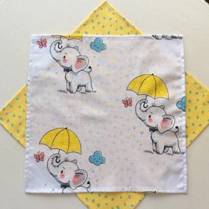 Elefánt sárga esernyővel - zsebkendő vagy szalvéta szett (Mesedoboz) - Meska.hu