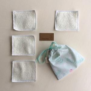 Arctisztító párna csomag, bambusz frottír és pamut textil felhasználásával, hordozó zsákkal- NoWaste  (Mesedoboz) - Meska.hu
