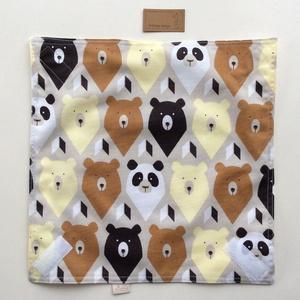 ÖKO szalvéta, szendvics- uzsonna csomagoló, panda és maci mintával, vízhatlan PUL belsővel / NoWaste  - Artiroka design (Mesedoboz) - Meska.hu