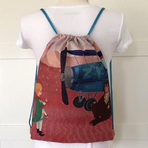 Kis herceg és Exupery találkozása- vízlepergetős hátizsák, tároló - edzéshez, úszáshoz, kiránduláshoz - Artiroka design, Táska, Divat & Szépség, Táska, Hátizsák, Gyerek & játék, NoWaste, Játék, Varrás, Fotó, grafika, rajz, illusztráció, A Kis herceg és Exupery találkozása - hátizsák készült vastag, kevert szálas, lenvászon textilből és..., Meska