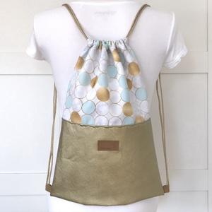 Arany - fehér - türkiz  buborékos gymbag hátizsák - Fesztivál hátizsák, edzéshez,  úszáshoz, kiránduláshoz, Táska, Divat & Szépség, Táska, Hátizsák, Arany - fehér - türkiz buborékos vízlepergetős textilből és arany textilbőrből készült ez a könnyű, ..., Meska