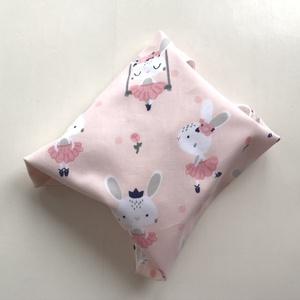ÖKO szalvéta, szendvics- uzsonna csomagoló, nyuszi mintás pasztell rózsaszín / NoWaste leírása- Artiroka design  (Mesedoboz) - Meska.hu