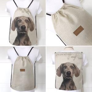 Vizsla kutya mintás gymbag hátizsák, ovis zsák, tornazsák edzéshez, úszáshoz  - Artiroka design (Mesedoboz) - Meska.hu
