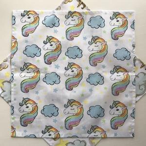 Unikornis mintás, pamut textil zsebkendő vagy szalvéta szett, pasztell színben - Artiroka design (Mesedoboz) - Meska.hu