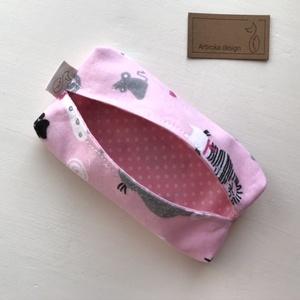Cica mintás bélelt papírzsebkendő tartó - rózsaszín - Artiroka design (Mesedoboz) - Meska.hu