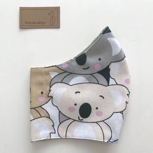 Koala mackó mintás arcmaszk, szájmaszk, maszk -  Artiroka design, Otthon & lakás, Táska, Divat & Szépség, Szépség(ápolás), Maszk, szájmaszk, Varrás, Többször használatos, mosható, környezetbarát szájmaszk, több méretben. Külső anyaga koala mackó min..., Meska