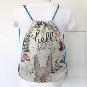 Nyuszi mintás gymbag hátizsák, biciklizéshez, kiránduláshoz, edzéshez - Artiroka design - , Táska, Divat & Szépség, Otthon & lakás, Táska, Hátizsák, Édességek, Nyuszi mintás gymbag hátizsák készült kevertszálas lenvászon textilből. Belül két zseb található, eg..., Meska
