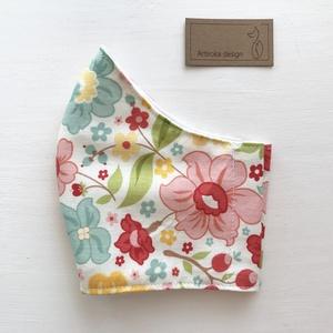 Virág  mintás  prémium pamut textil arcmaszk, szájmaszk, maszk -  Artiroka design (Mesedoboz) - Meska.hu