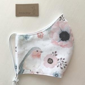Pasztell madárkás prémium pamut textil arcmaszk, szájmaszk, maszk, gyerekmaszk - Artiroka design (Mesedoboz) - Meska.hu