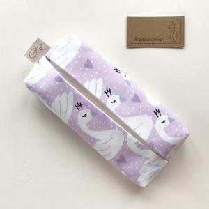 Pasztell lila hattyú mintás, bélelt papírzsebkendő tartó - Artiroka design - Meska.hu