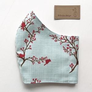 Madárcsicsergős virágzó fa mintás maszk, szájmaszk, arcmaszk, gyerek maszk prémium pamut textilből-  Artiroka design (Mesedoboz) - Meska.hu