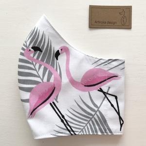 Flamingó mintás arcmaszk, szájmaszk, maszk - Artiroka design, Maszk, Arcmaszk, Gyerek, Varrás, Többször használatos, mosható, környezetbarát szájmaszk, több méretben. Külső anyaga flamingó mintás..., Meska