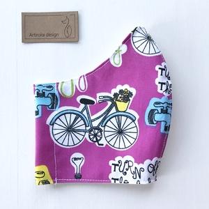 Bicikli mintás pink színű arcmaszk, szájmaszk, maszk - Artiroka design leírása (Mesedoboz) - Meska.hu