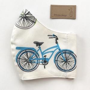 Bicikli mintás arcmaszk, szájmaszk, maszk - Artiroka design leírása, Táska, Divat & Szépség, Gyerek & játék, NoWaste, Szépség(ápolás), Maszk, szájmaszk, Textilek, Többször használatos, mosható, bicikli mintás, környezetbarát szájmaszk, több méretben. Külső anyaga..., Meska