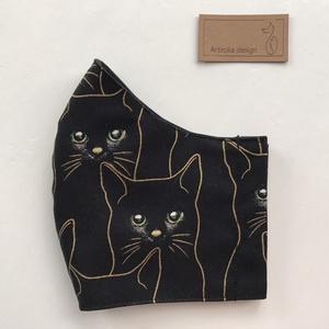 Fekete cica zöld szemekkel mintás maszk arany kontúrral, prémium pamut textilből - Mesedoboz  - Artiroka design , Táska, Divat & Szépség, Szépség(ápolás), Ruha, divat, NoWaste, Maszk, szájmaszk, Varrás, Többször használatos, mosható, környezetbarát szájmaszk, több méretben. Külső anyaga fekete cica min..., Meska