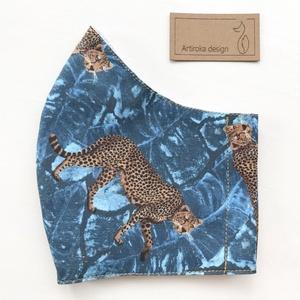 Leopárd mintás prémium szájmaszk, maszk, arcmaszk - Artiroka design, Maszk, Arcmaszk, Gyerek, Varrás, Többször használatos, mosható, környezetbarát szájmaszk, több méretben. Külső anyaga leopárd mintás ..., Meska