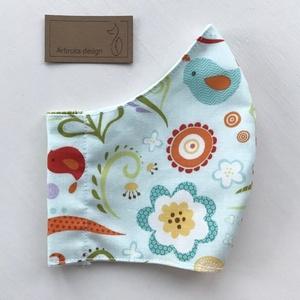 Prémium pamut textil, színes mintás arcmaszk, szájmaszk, maszk a nyári napokra - Artiroka design (Mesedoboz) - Meska.hu