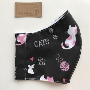 Fekete cica mintás arcmaszk, szájmaszk, maszk, gyerekmaszk pamut textilből - macska - Artiroka design (Mesedoboz) - Meska.hu