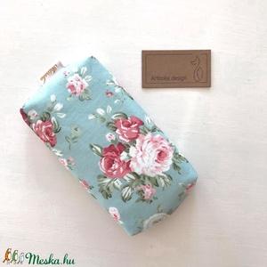 Türkiz kék, angol rózsa mintás, bélelt papírzsebkendő tartó - Artiroka design leírása (Mesedoboz) - Meska.hu