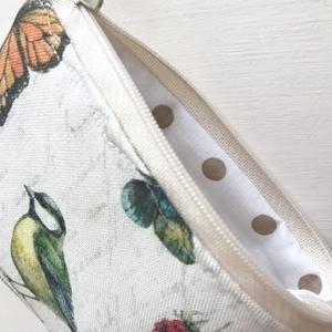 Cinege madárkás, pillangós, natúr bézs irattartó pénztárca - Artiroka design - Meska.hu