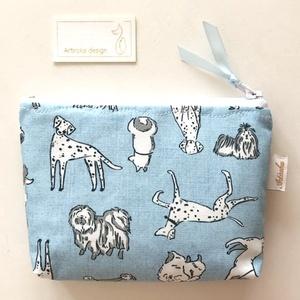 Kutya mintás, világoskék színű, irattartó pénztárca  - Artiroka  design- AKCIÓ - Meska.hu