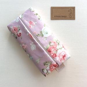 Púder rózsaszin, angol rózsa mintás,  bélelt papírzsebkendő tartó - Artiroka design (Mesedoboz) - Meska.hu