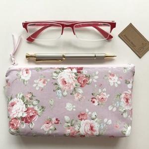Púder színű angol rózsás prémium neszesszer, tolltartó, szemüvegtok - neszesszer - Artiroka design, Táska, Divat & Szépség, Táska, Neszesszer, Pénztárca, tok, tárca, Szemüvegtartó, NoWaste, Varrás, Angol rózsás prémium pamut textilből készítettem ezt a púder színű  neszesszert, tolltartót vagy sze..., Meska
