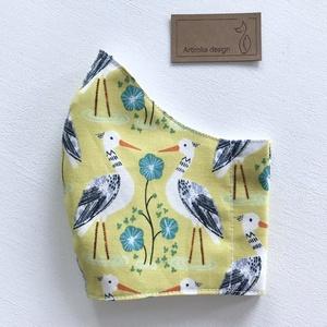 Gólya mintás prémium pamut textil, napsárga színű arcmaszk, szájmaszk, maszk - Artiroka design (Mesedoboz) - Meska.hu