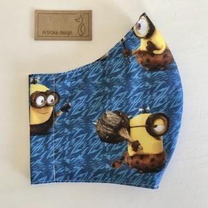 Minyon  mintás kék színű szájmaszk, maszk, arcmaszk, gyerek maszk - több méret   - Artiroka design - Meska.hu