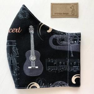 Gitár és kotta mintás, prémium arcmaszk, szájmaszk, maszk - koncert - zene - Artiroka design, Maszk, Arcmaszk, Férfi & Uniszex, Varrás, Többször használatos, mosható, környezetbarát szájmaszk, több méretben. Külső anyaga gitár mintás fe..., Meska
