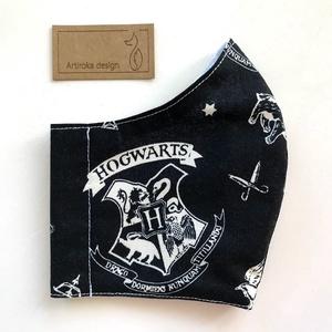 Harry Potter fekete címeres  arcmaszk, szájmaszk, maszk - Artiroka design (Mesedoboz) - Meska.hu