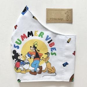 Miki egér, Plútó és Goffy kutya és Donald kacsa mintás prémium pamut arcmaszk, szájmaszk, gyerekmaszk - Artiroka design (Mesedoboz) - Meska.hu