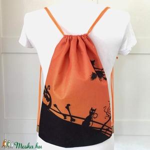 AKCIÓ - Halloween mintás, egyedi gymbag hátizsák, tároló - Boszorkány - tök - cica - Artiroka design, Halloween, Varrás, Hímzés, Meska