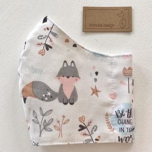Kis róka mintás pasztell színű szájmaszk, maszk, arcmaszk - Artiroka design (Mesedoboz) - Meska.hu