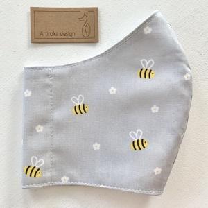 Méhecske és virág mintás pasztell szürke ( kék és rózsaszín ) színű prémium maszk, arcmaszk - Artiroka design - Meska.hu