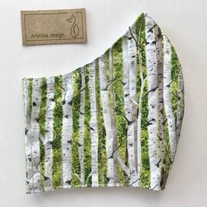 Nyírfa erdő mintás prémium pamut textilből készült maszk, arcmaszk, szájmaszk M méretben - Mesedoboz  - Artiroka design  (Mesedoboz) - Meska.hu