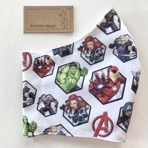 Marvel hősök, Vasember mintás pasztell szürke arcmaszk, szájmaszk, maszk - Artiroka design (Mesedoboz) - Meska.hu