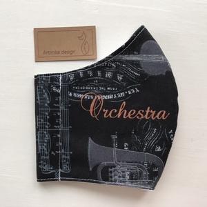 Zenekar és  kotta mintás, prémium arcmaszk, szájmaszk, maszk - koncert - zene - S méret - Artiroka design (Mesedoboz) - Meska.hu