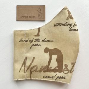 Namaste - Jóga mintás prémium pamut textilből készült maszk okker és bézs színben - Mesedoboz  - Artiroka design  (Mesedoboz) - Meska.hu