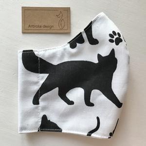 Fekete cica mintás arcmaszk, szájmaszk, maszk - macska -   S méret - Artiroka design (Mesedoboz) - Meska.hu